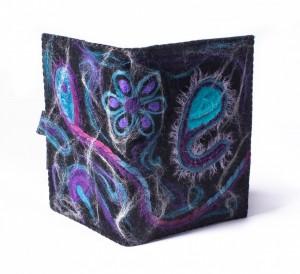 A5 boekenkaft paars-turquoise